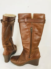 Load image into Gallery viewer, UGG Women's Wedge Knee Fleece Lined Leather Boots | UK2 | Brown