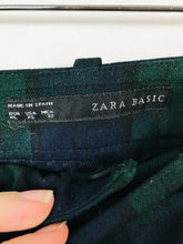 Load image into Gallery viewer, Zara Women's Cropped Check Slim Tartan Trousers | XL | Green