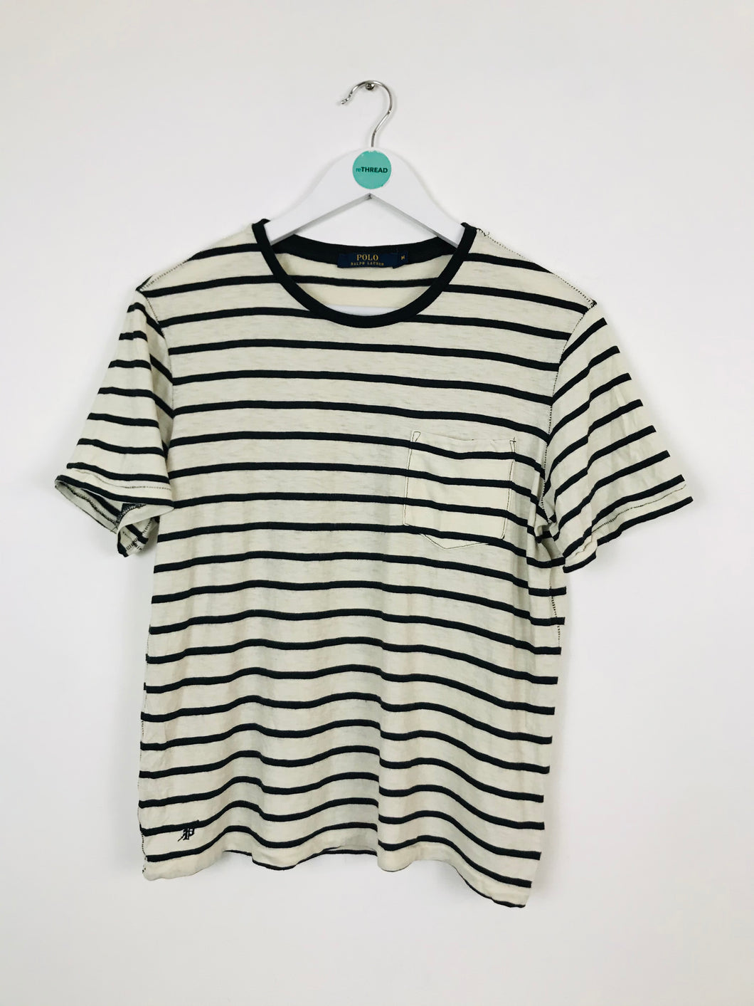 Ralph Lauren Womens Stripe T-shirt | UK10 | Black and cream