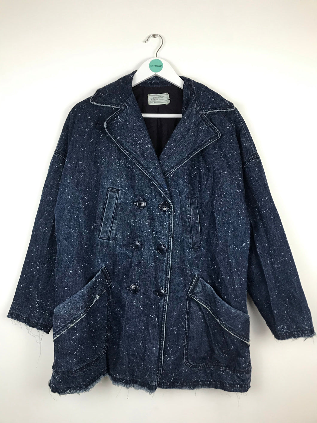 Current/Elliott Womens Denim Pea Coat | UK14 | Blue