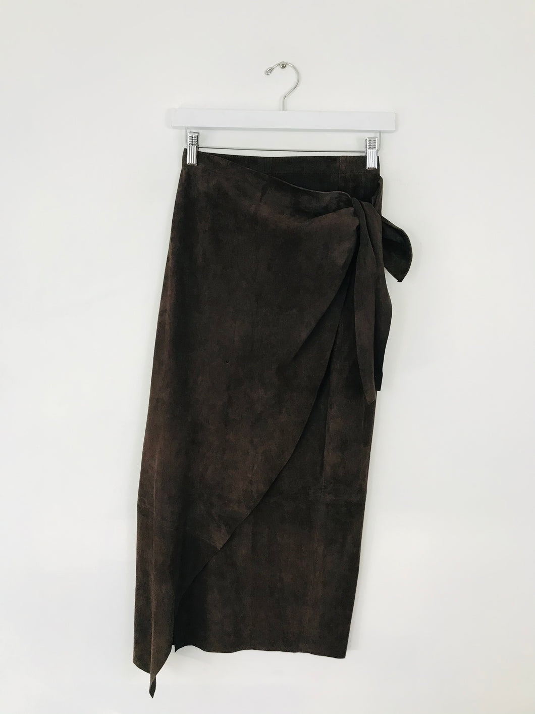 Vera Pelle Women's Suede Wrap Midi Skirt | UK10 | Brown