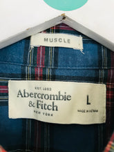 Load image into Gallery viewer, Abercrombie & Fitch Men's Check Muscle Fit Shirt | L | Blue