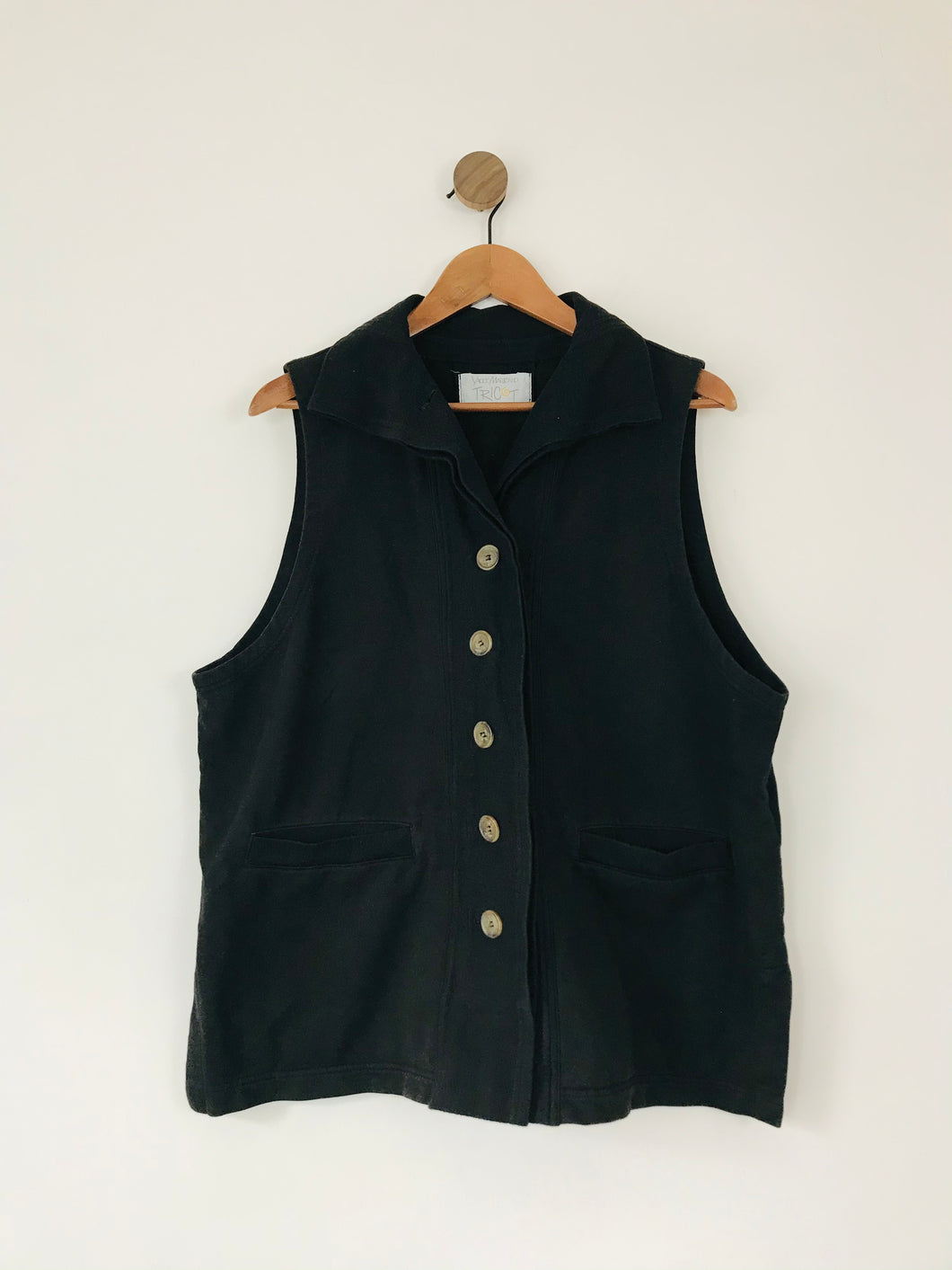 Yacco Maricard Women's Collared Button Waistcoat Vest | L UK16 | Black