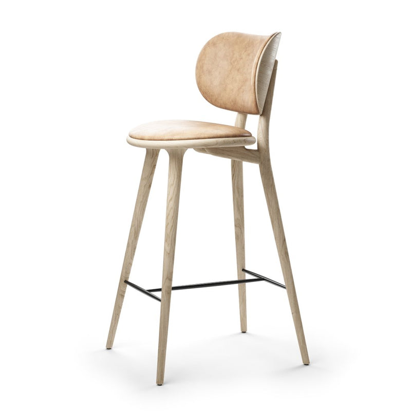 High Stool Backrest Barstol, 74 cm - Sæbebehandlet
