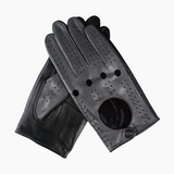 Grey and Black Hollow Out Mens Leather Driving Gloves with Snap