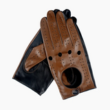 Breathable Black And Brown Matching Men's Leather Driving Gloves