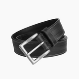 Classic Hand Stitching Black Leather Belts for Men