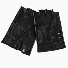 Mens Studded Black Fingerless Gloves with Breathable Vents