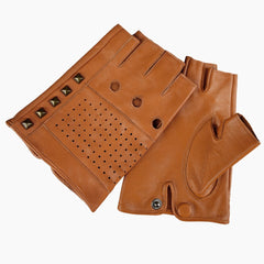 Breathable Tawny Men's Fingerless Driving Gloves with Studs