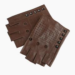 Mens Ventatile Coffee Brwon Studded Leather Driving Gloves