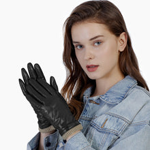 Load image into Gallery viewer, black leather driving gloves