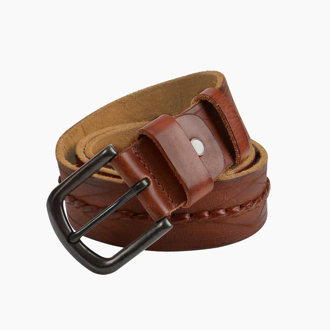 Hand Carving Suede Lining Mens Brown Cowhide Belts