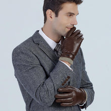 Load image into Gallery viewer, Classic Mens Winter Brown Leather Gloves with Cashmere Lining
