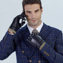 Load image into Gallery viewer, Stylish Cashmere Lined Mens Winter Black Leather Gloves