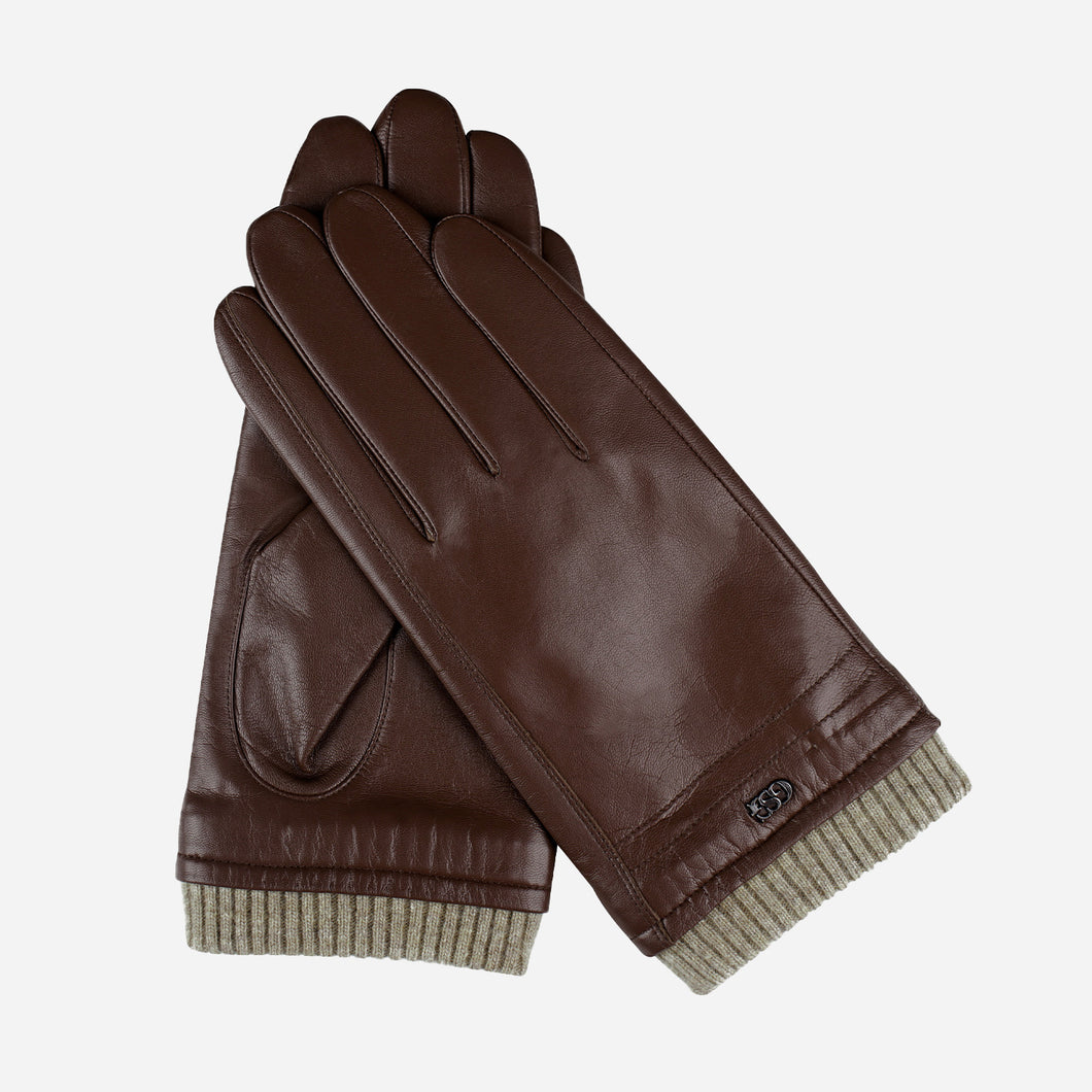 Classic Mens Winter Brown Leather Gloves with Cashmere Lining