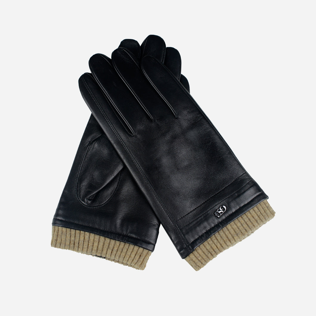 Stylish Cashmere Lined Mens Winter Black Leather Gloves