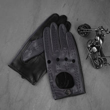 Load image into Gallery viewer, Grey and Black Hollow Out Mens Leather Driving Gloves with Snap