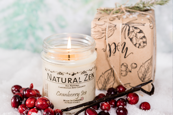 Cranberry Ice Candelilla and Coconut Scented Jar Candle