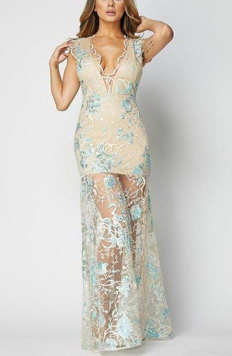 Lace Teal Gown