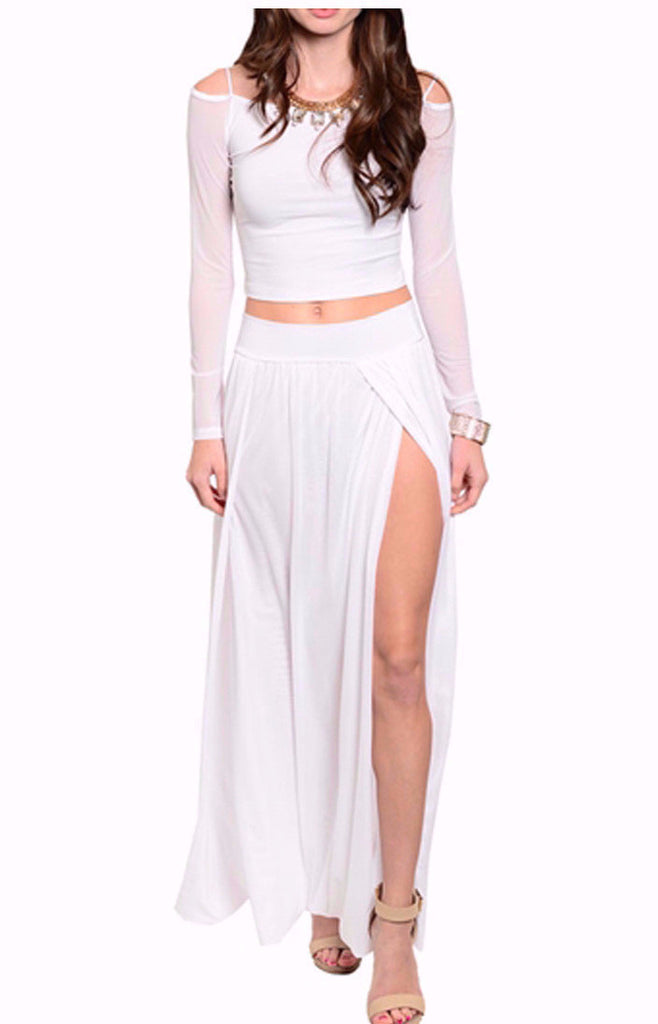 2 Piece-Maxi Slit Skirt & Top