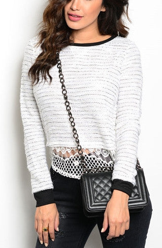 Black/White Crochet Top