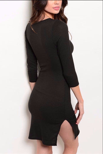 Ribbed With Slit Dress