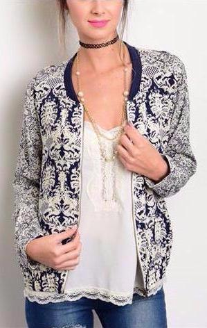 Navy Cream Jacket
