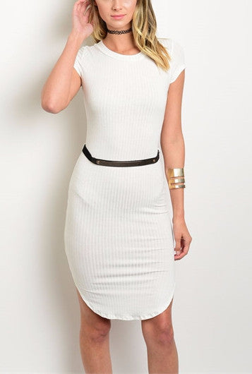 Ribbed Belt Dress