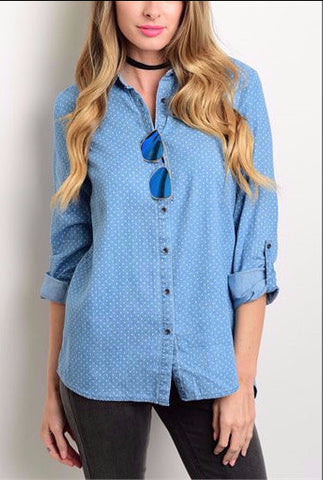 Denim-Dots Top