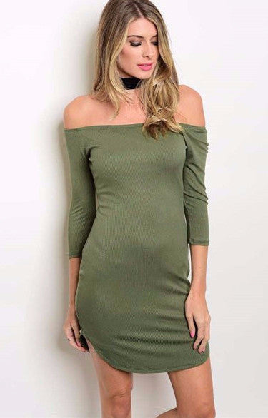 Off Shoulder Ribbed Bodycon Dress