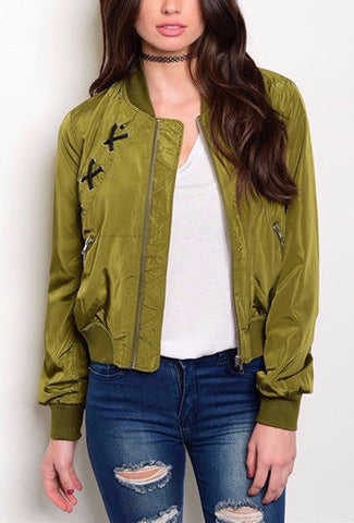 Bomber Jacket-Lace Up Detail