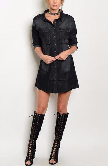 Denim Washed Shirt Dress