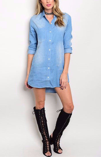 Distressed Shirt Dress