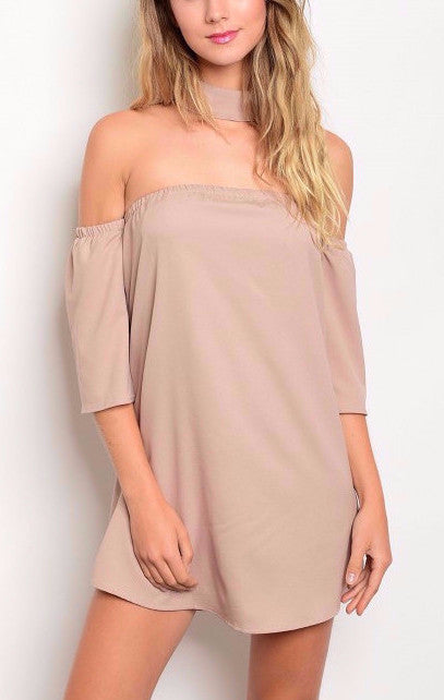 Off-Shoulder Choker Dress