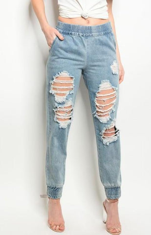 Distressed Denim Jogger
