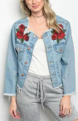 Distressed Rose Denim Jacket