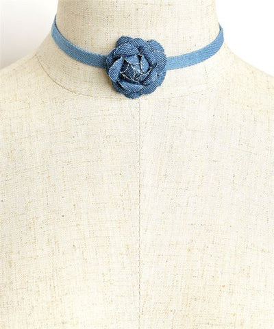 Choker-Denim Rose