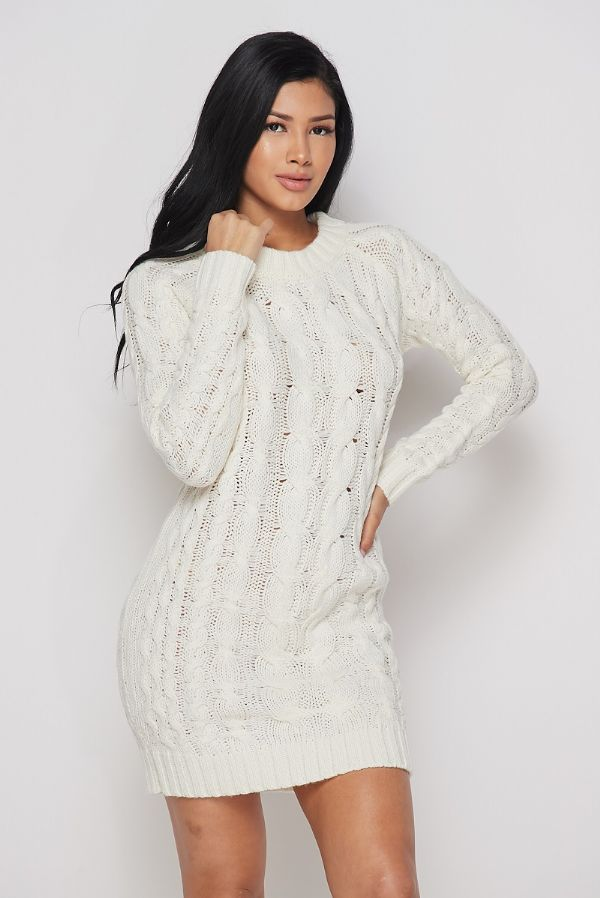 Cable Knit Sweater Dress*