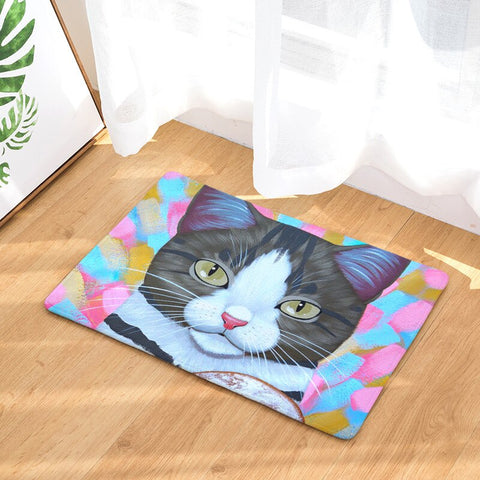 Tapis Deco Chat Gris Fond Multicolore