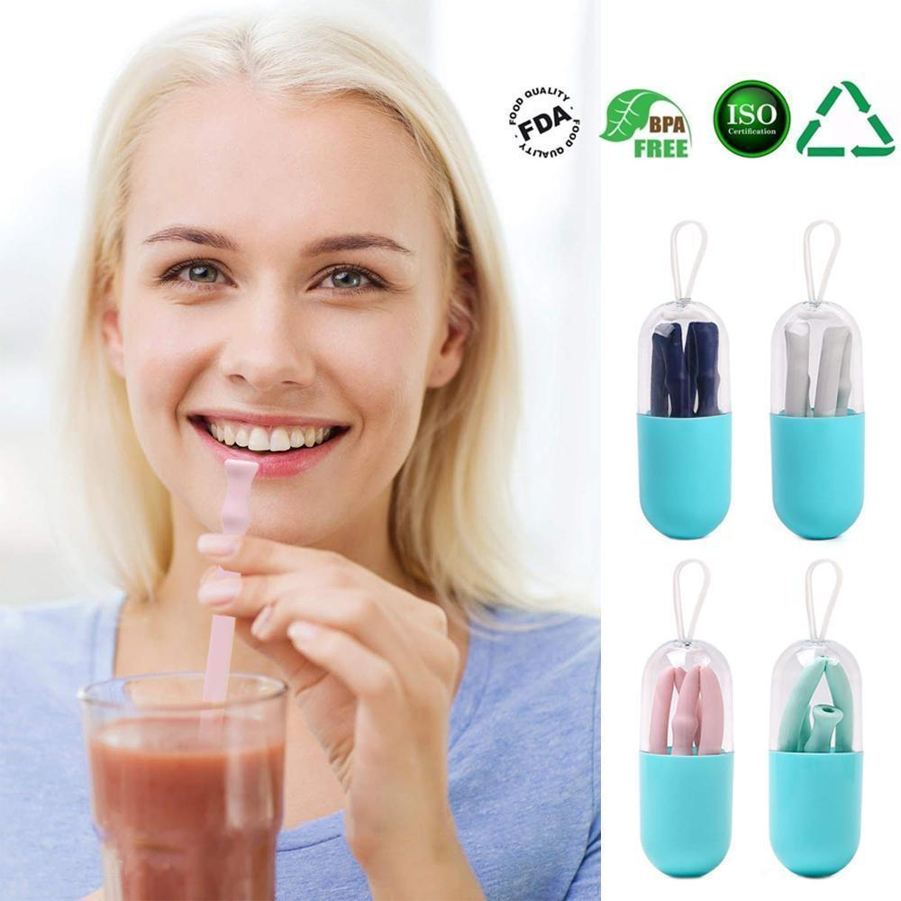 Silicone Straw Drinking Reusable,4PCS