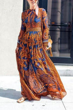 Load image into Gallery viewer, Best Chiffon Print Long-Sleeved Vintage Maxi Dress