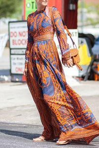 Best Chiffon Print Long-Sleeved Vintage Maxi Dress