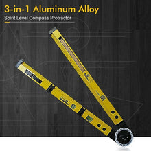 Load image into Gallery viewer, 3-in-1 Aluminum Alloy Spirit Level Compass Protractor