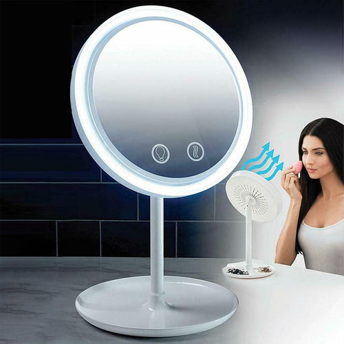 3 In 1 LED Makeup Mirror with Fan