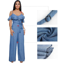 Load image into Gallery viewer, Sling Low-cut Ruffled Wide-leg Jumpsuit