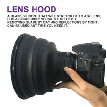Load image into Gallery viewer, Flexible Telescopic lens hood for phone or camera