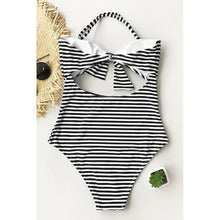 Load image into Gallery viewer, Pinstripe Halter One-Piece Swimsuit