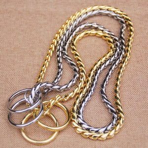 Dog Training Collars Snake P Choke Metal Slip Chain