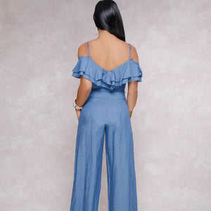 Sling Low-cut Ruffled Wide-leg Jumpsuit