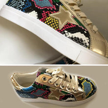 Load image into Gallery viewer, Glitter Lace-Up Star Pattern Casual Sneakers